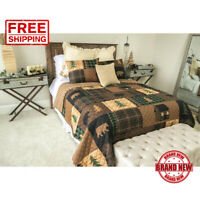 Bedding Accessory Brown Bear Cabin Quilt Set 3 Piece Soft 100% Polyester Queen