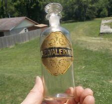 F.E.VALERIAN LABEL UNDER GLASS CRUDE PONTILED 1860 APOTHECARY DRUGSTORE BOTTLE