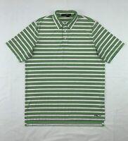 Ralph Lauren RLX Polo Shirt Men's Large Short Sleeve Green White Stripe