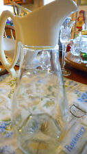 Vintage 1970's  LOG CABIN 24oz Glass Syrup Carafe Pitcher Gold Eagle Decoration