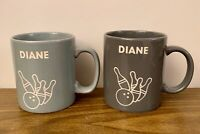 Bowling Ball & Pins DIANE Mugs Set Of 2 Cups 10 oz Gray Tones W/ Etched Out Used