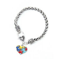 Love Heart Autism Stitching Heart Shaped Antique Puzzle Charm Bracelet  wcluj
