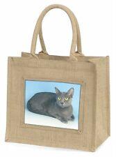 Silver Grey Thai Korat Cat Large Natural Jute Shopping Bag Christmas , AC-101BLN