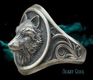New Wolf Head Nordic Tribal Mythology Viking Mens Ring