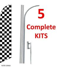 5 (five) CHECKERED black/white 15' SWOOPER #3 FEATHER FLAGS KIT