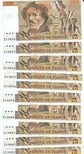 10 x 100 FRANCS DELACROIX de 1983  Q. 64   10 Numéros consécutifs