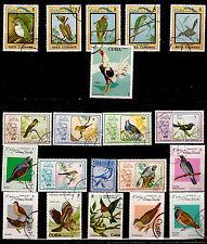 20 briefmarken gestempelt,VÖGEL alle arten und 1 hahn Kampf- 116T5