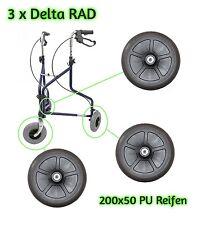 3x Rollator Rad 200x50 mm PU Ersatzräder Rollstuhl Gehwagen Vollgummi Reifen Neu