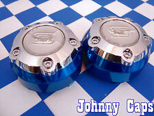 AF Sacchi Sendel Wheels Chrome/Blue Center Caps #STW-095-B Custom Cap (2)