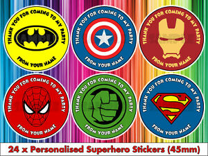 Personalised Superhero Birthday Thank You Party Stickers Sweet Bag Batman Hulk