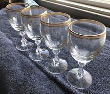 Set Of 4 Gold Rimmed Wine Glasses
