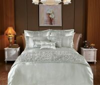 Stylish Silver Duvet Cover 3 Piece Bedding Set With Pillow Case Double King Size