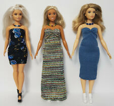 Fits CURVY BARBIE Clothes 6 Pce Lot of Dresses & Jewelry Fashions NO DOLLS d4e F