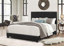 Bed Frame Full Size Panel Upholstered Bedroom Furniture Headboard Modern Black