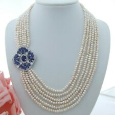 AB081105 6 Strands White Pearl Necklace CZ Pendant 20""