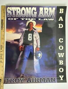 """RARE 1991 NFL POSTER DALLAS COWBOYS TROY AIKMAN """"STRONG ARM OF THE LAW"""" COSTACO"""
