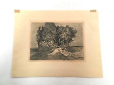 ANTIQUE PRINT OTTO SAGER PENCIL SIGNED ETCHING ON PAPER