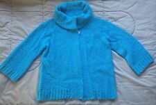 EVAN PICONE Blue CARDIGAN Open Front SWEATER Petite Med  3/4 Sleeve WRAP