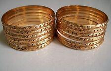 LOT 12PC  WOMEN'S GOLD FINISH  BANGLE BRACELET BEAUTIFUL DESIGN SET SIZE # 7