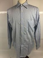 Tommy Hilfiger Blue White Plaid Shirt TLC The Lifetime Collar Mens Sz 15 32-33