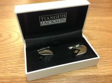 Tianguis Jackson 925 Silver Oval Cuff Links with black diamond pattern