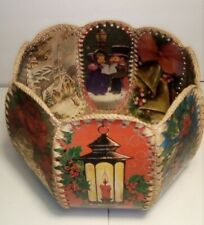 Vintage Crocheted Christmas Card Basket / Bowl Beautifully Crafted MCM