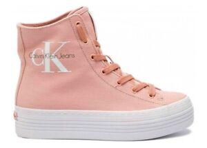 Scarpe donna Calvin Klein 9245 sneakers polacchine casual tela platform rosa 39