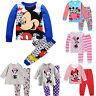 2pcs Kids Baby Boys Girls Mickey Minnie Mouse Sleepwear Nightwear Pjs Pajama Set