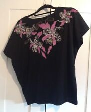Stunning 1980s Vintage Retro 'Supre' Black Purple Gold Top - Exclnt Cond - M