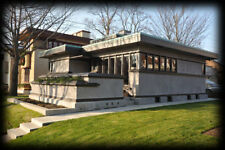 Frank Lloyd Wright small single story, 2 bedroom home design, Prairie School