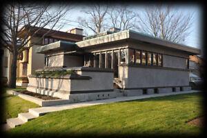 Frank Lloyd Wright single story 2 bedroom home, Prairie School, PRINTED PLANS
