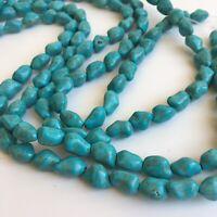 12x9mm Turquoise Nugget Gemstone Bead 38cm - 14inch Strand Jewellery Beads