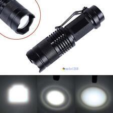 CREE T6 LED Mini Flashlight 14500 AA Torch 2000LM Zoomable Lamp Light Black MT