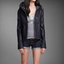 NWT Abercrombie Womens Rubber Rain Jacket Size Small Coat Navy Blue Raincoat