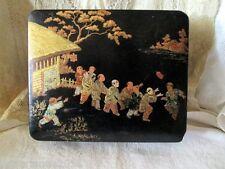 BOITE XIX EME PAPIER MACHE JAPONISANT ENFANTS BOX NAPOLEONIII JAPANESE FIGURINS