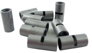 Lego 10 Stück Verbinder Achs Hülsen mit Schlitz silber (flat silver) 62462 Neu
