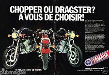 Publicité advertising 1980 (2 pages) Moto Yamaha Chopper ou Dragster