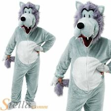 Deluxe Adult Wolf Big Head Mascot Fancy Dress Costume Animal Fairytale Outfit