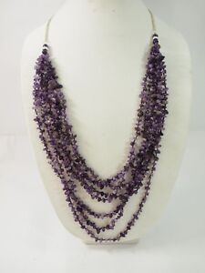 """Beautiful 7 strand Amethyst nugget Necklace Sterling Silver 36"""""""