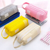 HO_ FT-  Pencil Bag Oxford Cloth Double Layer Zipper Stationery Storage Case Pou