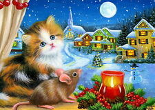 Kitten cat mouse window Christmas candle houses moon snow OE ACEO print art