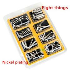 8PCS IQ Test Toys Gift Mind Brain Teaser Metal Wire Puzzles Magic Trick Kid Game