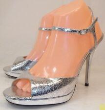Bakers DIEM Wo's US10B Crackle Silver Ankle Strap Peep Heels Stilettos Wedding