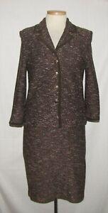 St John Brown-Multi Tweed w/Suede Trim Button Front Jacket & Pencil Skirt Suit 8