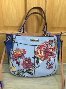 LADIES BLUE RIVER ISLAND FLORAL BAG WITH LONG STRAP