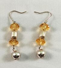 """Handmade Beautiful Stylish Earrings - Yellow and metallic Beads 1.18"""" Hook Alloy"""