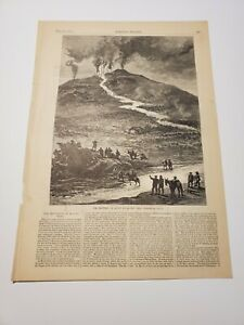 The Eruption of Mount Etna The Great Stream of Lava Italy c. 1879 Engraving