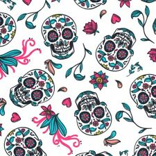 Calaveras Mexican Sugar Skulls - White - Cotton Fabric Day of the Dead