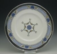 "ROYAL WORCESTER ANTIQUE STERLING SILVER RIM ENAMEL 12"" PLATTER CHOP PLATE"
