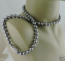 """VINTAGE FAUX TAHITIAN BLACK/SILVER PEARL NECKLACE SIGNED NOLAN MILLER 22"""""""